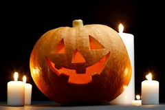 Halloween pumpkin with candles Stock Images