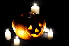 Halloween pumpkin with candles Royalty Free Stock Photography