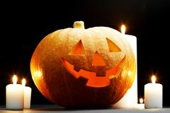 Halloween pumpkin with candles Royalty Free Stock Photo