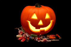 Halloween Pumpkin with Candy royalty free stock photo