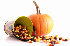 Halloween pumpkin and candy Royalty Free Stock Photography