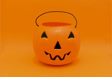 Halloween Pumpkin candy bucket for trick-or-treating Stock Photos