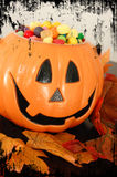 Halloween Pumpkin with Candy Royalty Free Stock Photos