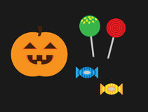 Halloween Pumpkin and Candy Illustration Stock Photo