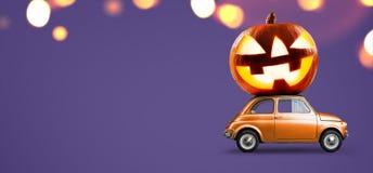 Halloween pumpkin on car Stock Images