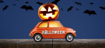 Halloween pumpkin on car royalty free stock image