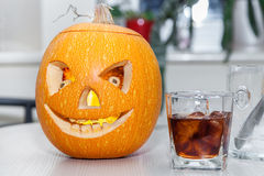 Halloween pumpkin with carved faces Stock Photography