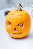 Halloween pumpkin with carved faces Royalty Free Stock Photos