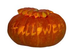Halloween pumpkin with carved and highlighted letters on white background royalty free stock photo