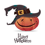 Halloween pumpkin carving in black witch hat. Cartoon vector. Stock Image