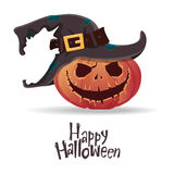Halloween pumpkin carving in black witch hat. Happy Halloween typography. Cartoon vector. Royalty Free Stock Photos