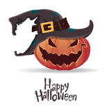 Halloween pumpkin carving in black witch hat. Happy Halloween typography. Cartoon vector. Stock Image