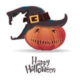 Halloween pumpkin carving in black witch hat. Happy Halloween typography. Cartoon vector. Stock Photos