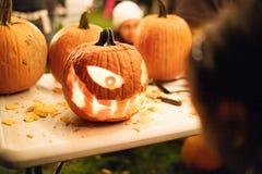 Free Halloween Pumpkin Carving, Eyes Teeth Creepy Smile Royalty Free Stock Images - 159613519