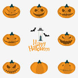 Halloween pumpkin carving set. Happy Halloween typography with lantern. Vector. Royalty Free Stock Image