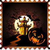 Halloween Pumpkin and Castle Stamp. Spooky Evil Pumpkin on Halloween Nightmare Scenery, with moon, bats and a Haunted Castle on top of a hill. Created on Vector Stock Photography