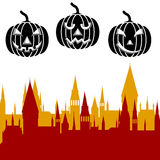 Halloween pumpkin and castle tower. Vector illustration.  Royalty Free Stock Image
