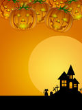Halloween Pumpkin Cat Moon Cemetery Tombstone Royalty Free Stock Images
