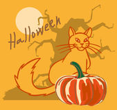 Halloween pumpkin with cat and tree Royalty Free Stock Photo
