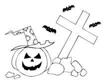 Halloween pumpkin on cemetery Royalty Free Stock Photo