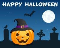 Halloween Pumpkin & Cemetery on Blue Royalty Free Stock Photo