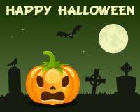 Halloween Pumpkin & Cemetery on Green Royalty Free Stock Photos