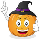 Halloween Pumpkin Character with Hat. A funny cartoon Halloween pumpkin character smiling with thumbs up and wearing a witch hat, isolated on white background royalty free illustration