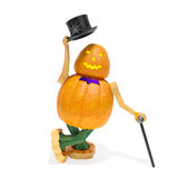 Halloween pumpkin character. Halloween pumpkin monster character (Jack O Lantern) in top hat with cane greets and invites to party, reception or holiday Stock Photo
