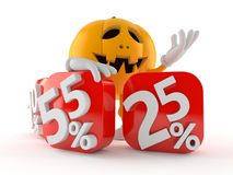 Halloween pumpkin character with percent symbols Stock Photography