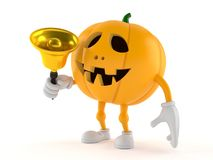 Halloween pumpkin character ringing a handbell Stock Image