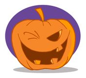 Halloween pumpkin character winking Stock Photos