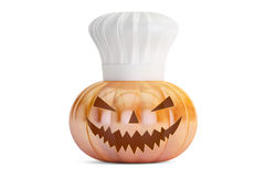 Halloween pumpkin with chefs hat Stock Image