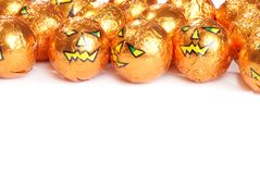 Halloween pumpkin chocolates Stock Images