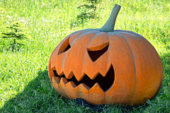 Halloween Pumpkin in a clearing Royalty Free Stock Photos