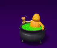 Halloween pumpkin with cocktail takes a bath in witch cauldron. Halloween pumpkin monster character (Jack O Lantern) in witch cauldron with magic green bubble Royalty Free Stock Image