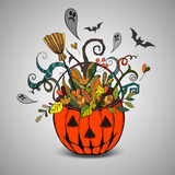 Halloween pumpkin and colorful items. Vector Halloween poster with colorful and autumn elements Vector Illustration