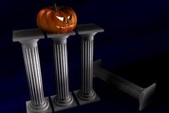 Halloween Pumpkin and columns. 3d Illustration of halloween pumpkin standin over columns vector illustration