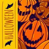 Halloween pumpkin concept background, hand drawn style royalty free illustration