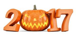 Halloween pumpkin 2017 concept, 3D. Rendering Stock Photography