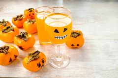Halloween Pumpkin Concept And Ghosts stock photo
