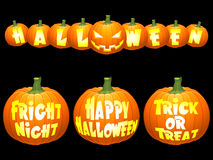Halloween pumpkin concepts. Shiny vector halloween pumpkins, isolated on black background Royalty Free Stock Images