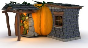 Halloween Pumpkin Cottage Royalty Free Stock Images