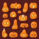 Halloween pumpkin creepy face head vector illustration set. Celebration pumpkin head silhouette Stock Photography