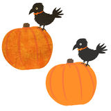 Halloween Pumpkin and Crow. Two versions, textured and plain Royalty Free Stock Photo
