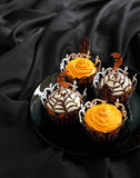 Halloween pumpkin cupcake Royalty Free Stock Photo