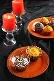 Halloween pumpkin cupcake Stock Photography