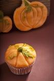 Halloween pumpkin cupcake Stock Image