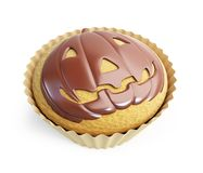 Halloween pumpkin cupcake Stock Images