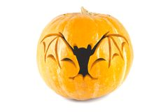 Halloween pumpkin with cut out bat Stock Images
