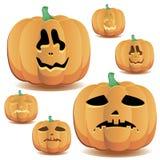 Halloween pumpkins set 12. Halloween pumpkin with a cute face and lighting, set 12, vector illustration additional stock illustration